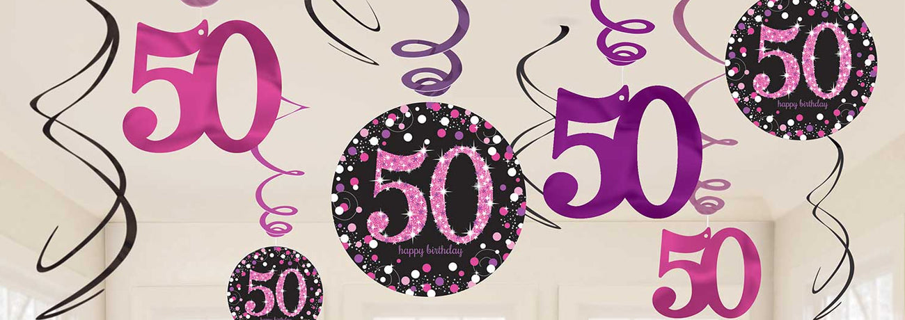 50th Birthday Pink Celebration Party Supplies