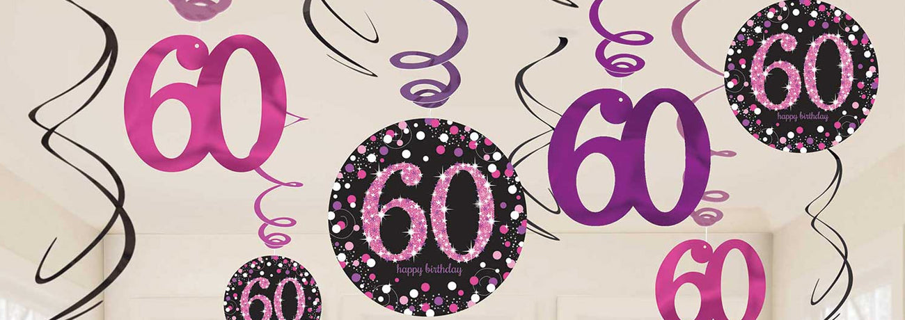 60th Birthday Pink Celebration Party Supplies