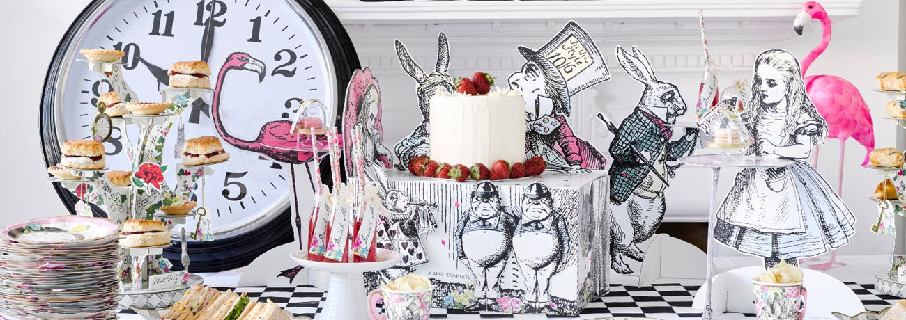 alice in wonderland birthday party supplies, including alice in wonderland decorations
