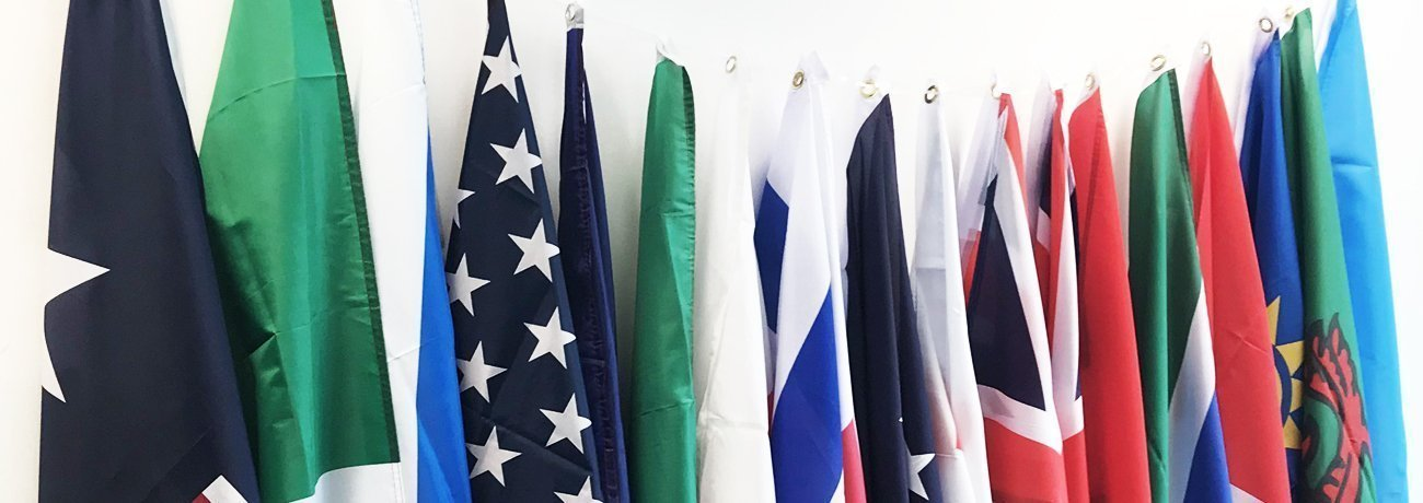 table cloth flags and hand waving flags