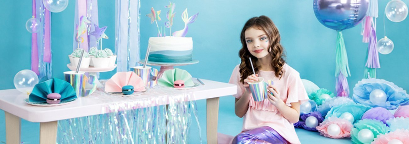 mermaid party supplies, including mermaid party decorations