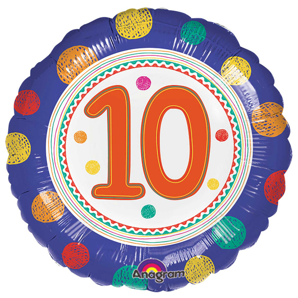10th Birthday Spots Foil Balloon - 18""