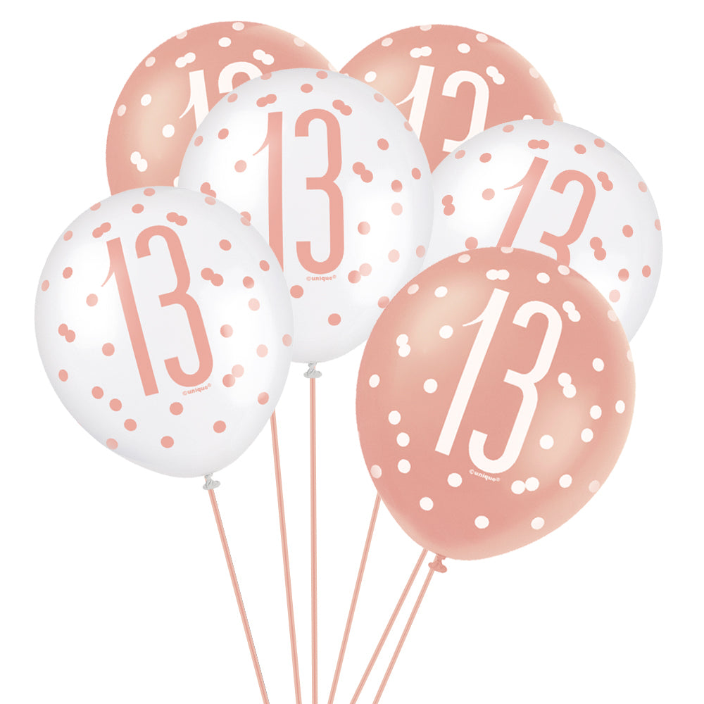 "Birthday Glitz Rose Gold 13th Pearlised Latex Balloons - 12"" - Pack of 6"