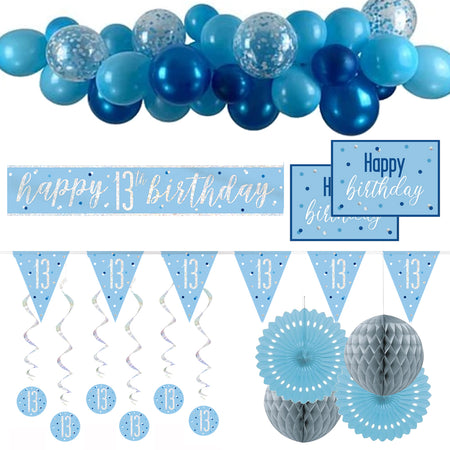 13th Birthday Blue & Silver Glitz Decoration Pack