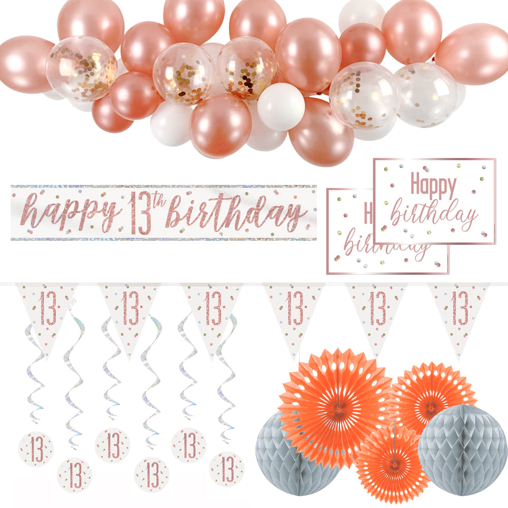 13th Birthday Rose Gold Glitz Decoration Pack