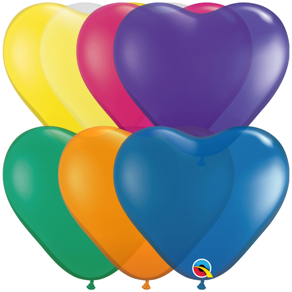 "Heart Latex Balloons Carnival Assortment - 6"" - Pack of 10"