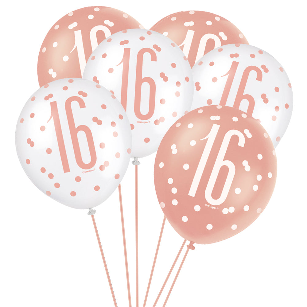 "Birthday Glitz Rose Gold 16th Pearlised Latex Balloons - 12"" - Pack of 6"