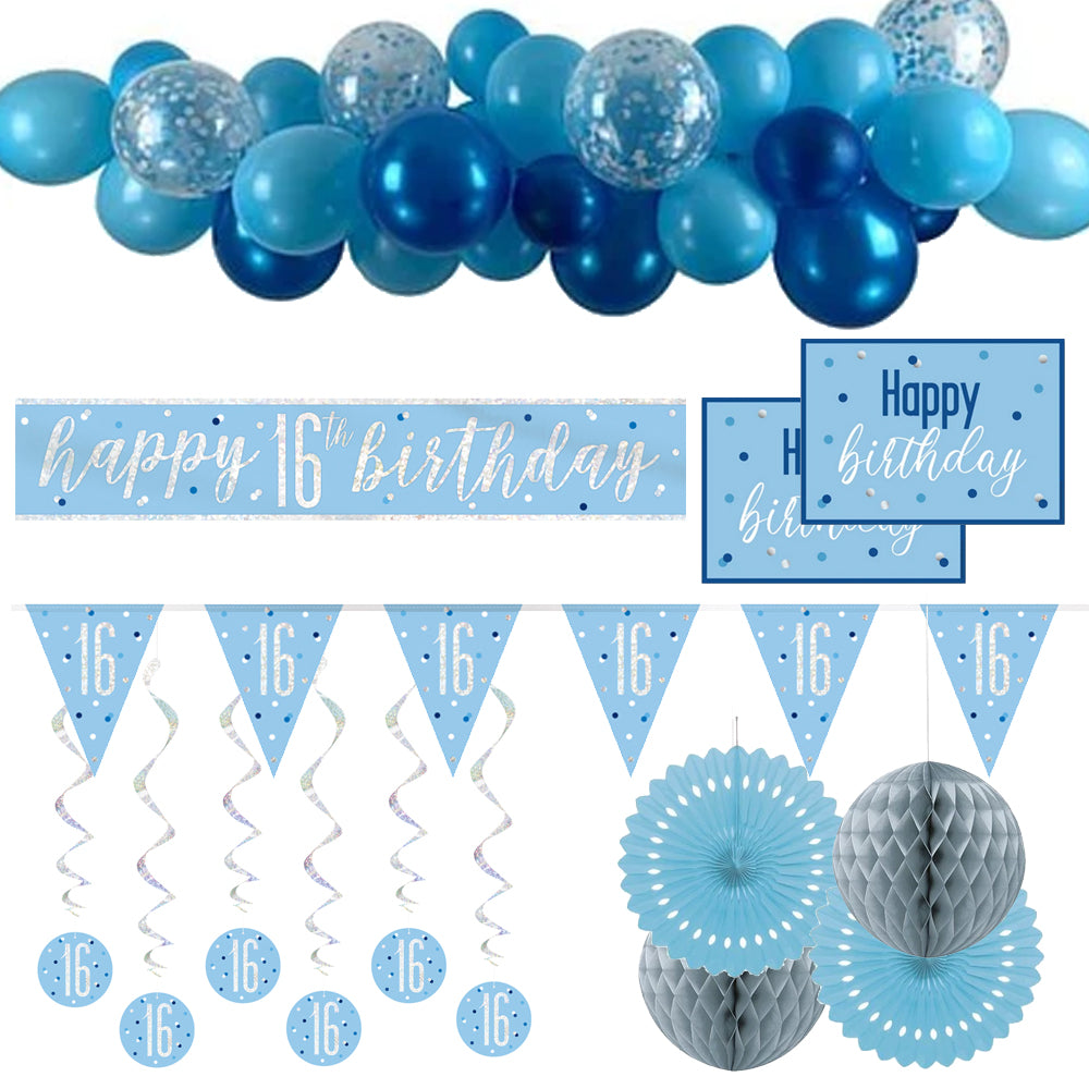 16th Birthday Blue & Silver Glitz Decoration Pack