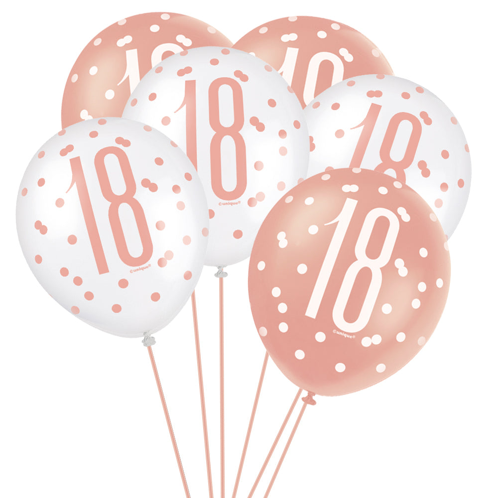 "Birthday Glitz Rose Gold 18th Pearlised Latex Balloons - 12"" - Pack of 6"