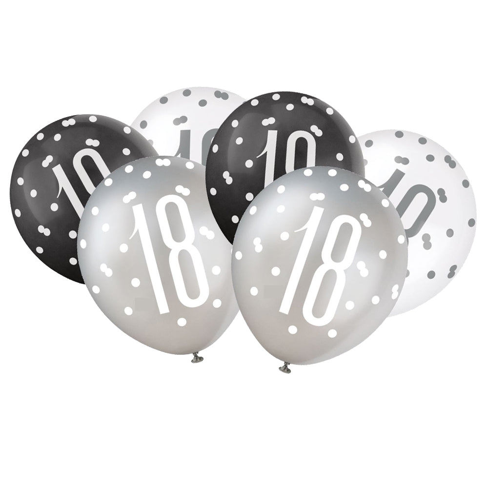 Birthday Glitz Black & Silver 18th Pearlised Latex Balloons - Pack of 6