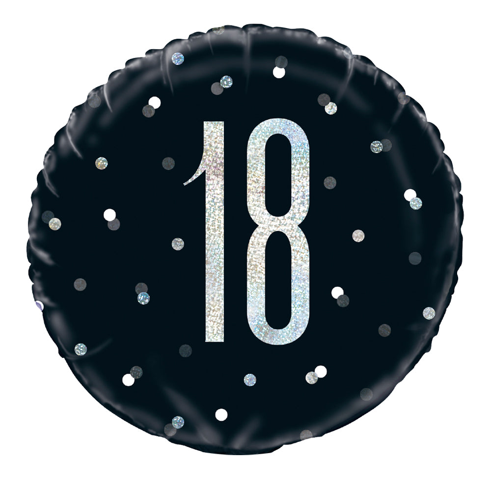 Birthday Glitz Black & Silver 18th Prismatic Foil Balloon - 18""