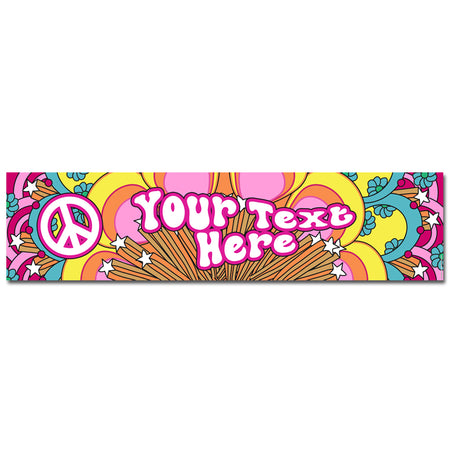 Personalised 1960's Hippie Banner Decoration - 1.2m