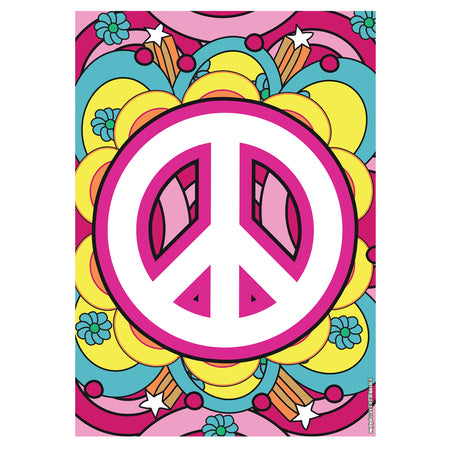 1960's Hippie Peace Sign Poster -A3