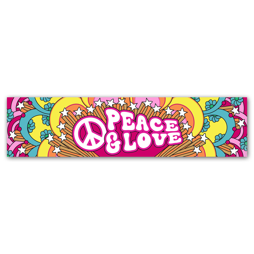 1960's Hippie 'Peace & Love' Banner Decoration - 1.2m