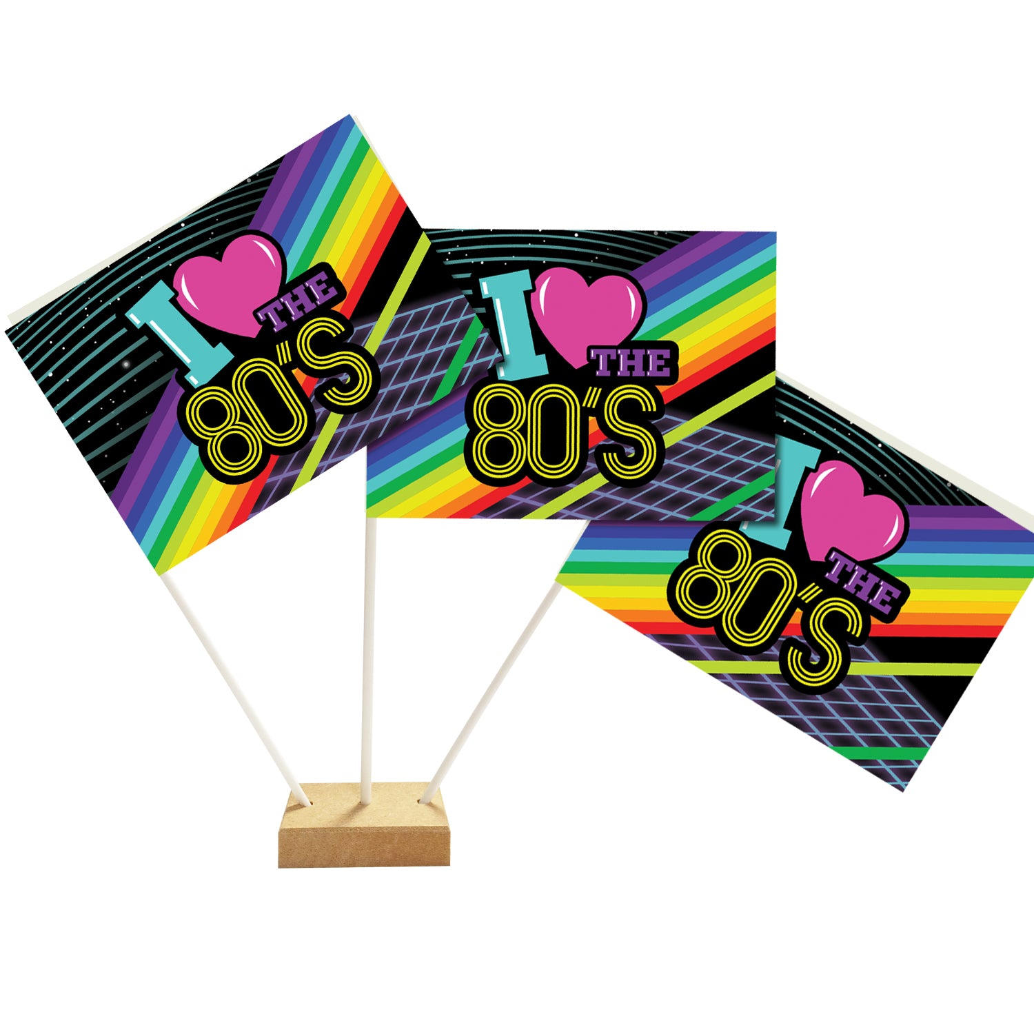 I Love the 80's Table Flag Decoration - 15cm on 24cm Pole