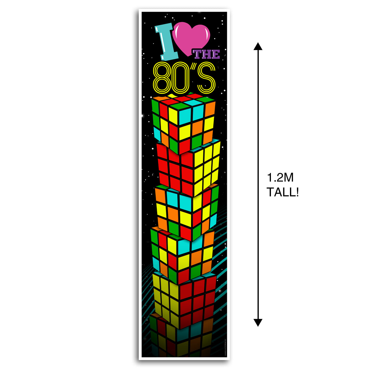 1980's I Love the 80's Puzzle Cube Portrait Wall & Door Banner Decoration - 1.2m