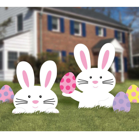 Easter Bunny Reusable Corrugated Garden Signs - Pack of 5