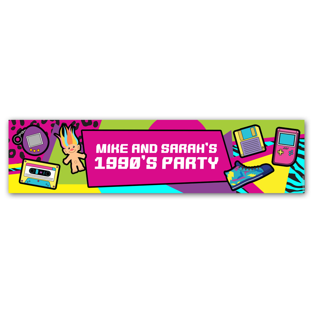 90's Retro Personalised Banner Decoration