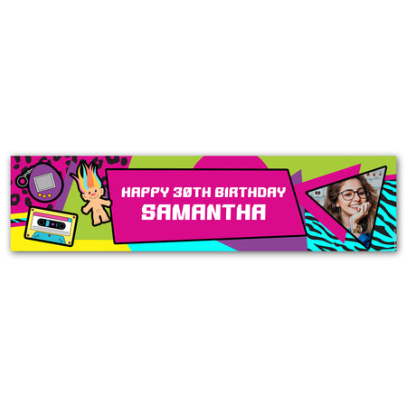 1990's Retro Personalised Photo Banner Decoration - 1.2m
