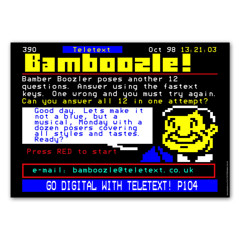 1990's Teletext Page Poster Decoration