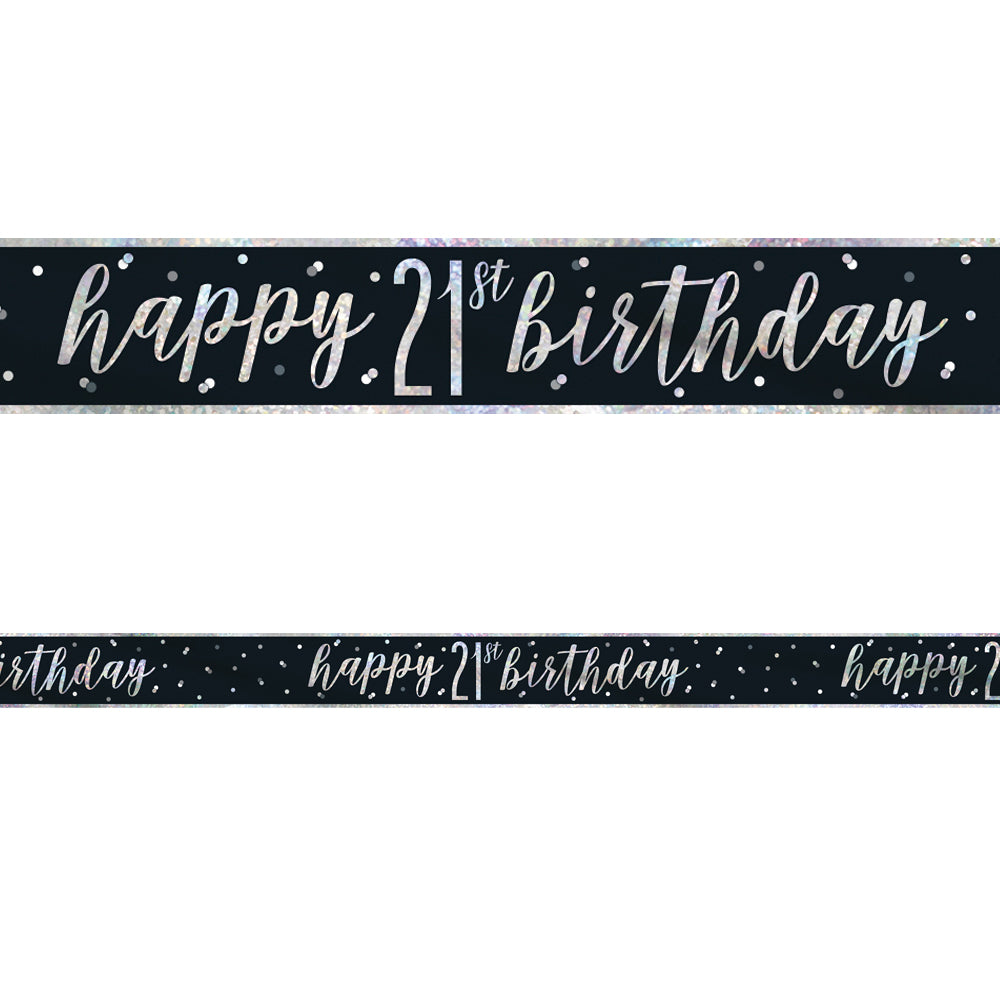 Birthday Glitz Black & Silver Happy 21st Birthday Foil Banner - 2.7m