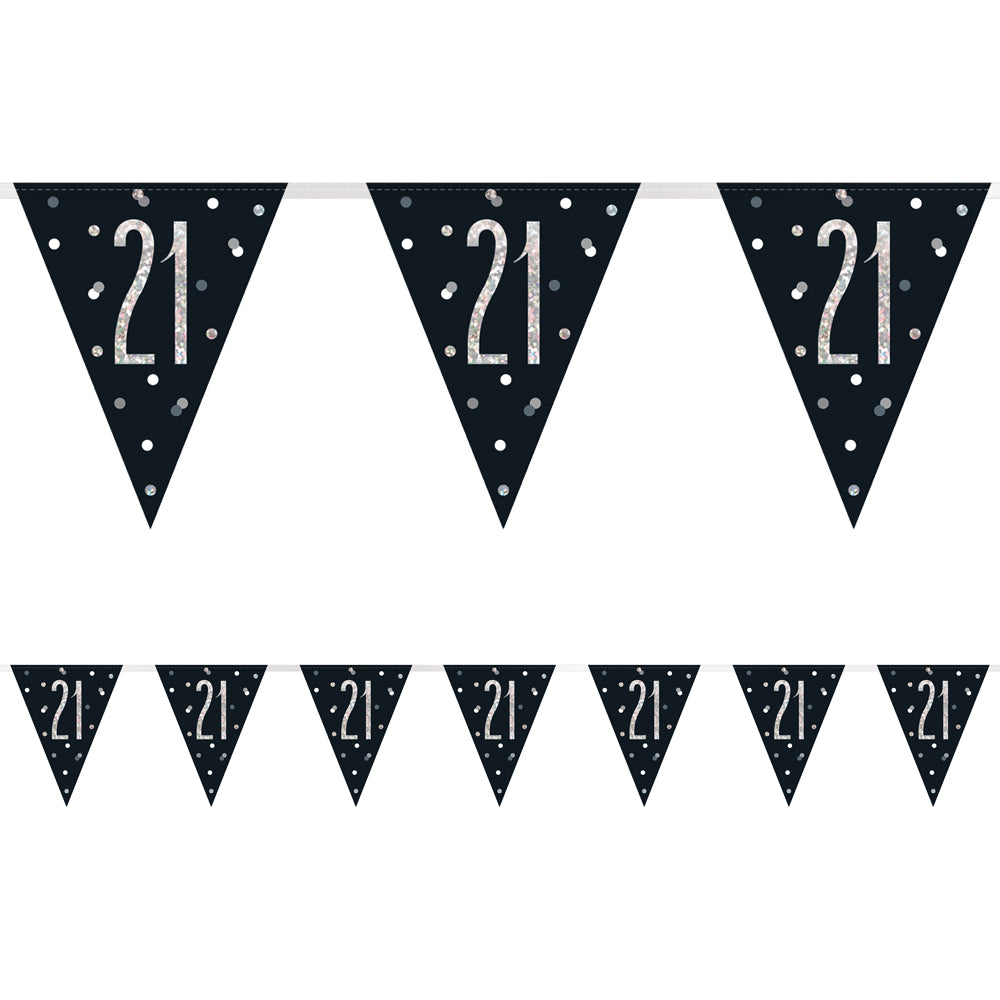Birthday Glitz Black & Silver 21st Flag Bunting - 2.7m