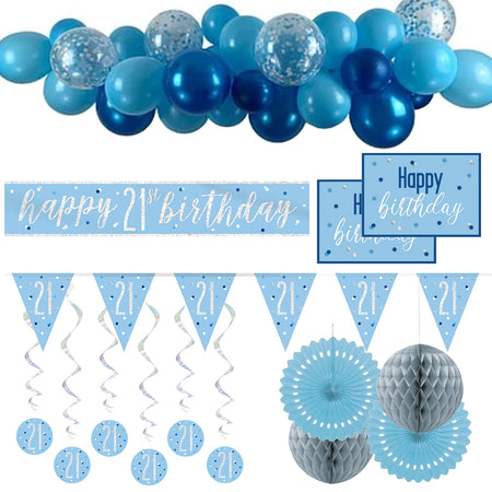 21st Birthday Blue & Silver Glitz Decoration Pack