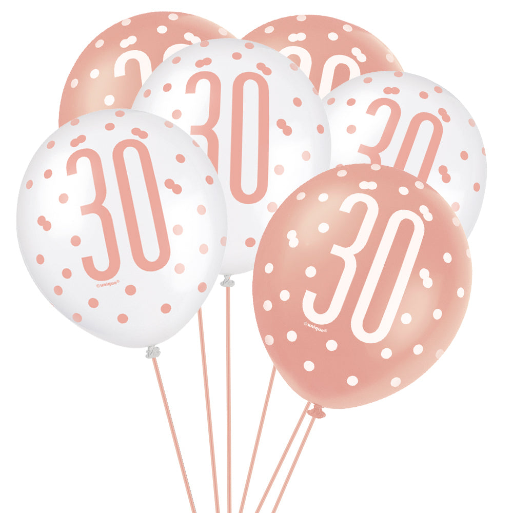 "Birthday Glitz Rose Gold 30th Pearlised Latex Balloons - 12"" - Pack of 6"