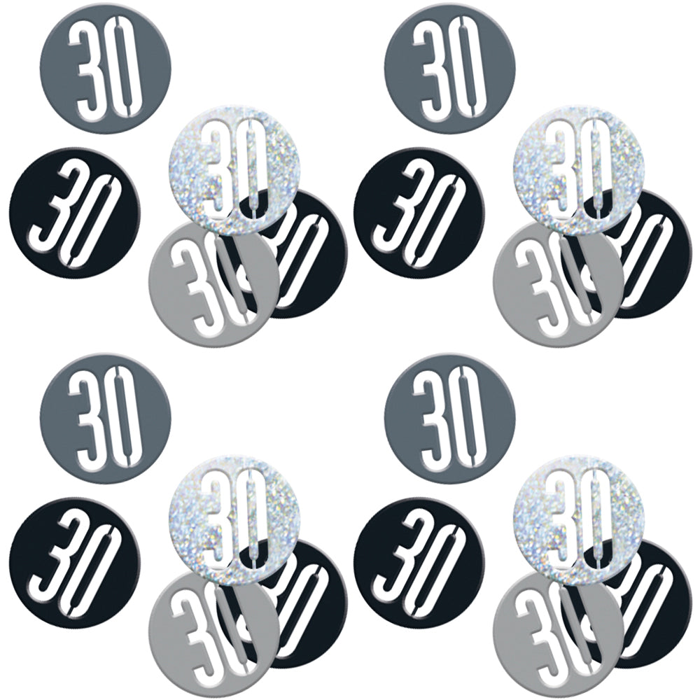 Birthday Glitz Black & Silver 30th Confetti
