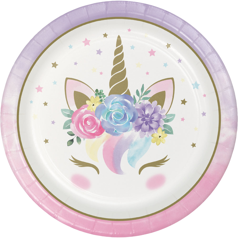Unicorn Baby Paper Plates - 23cm - Pack of 8