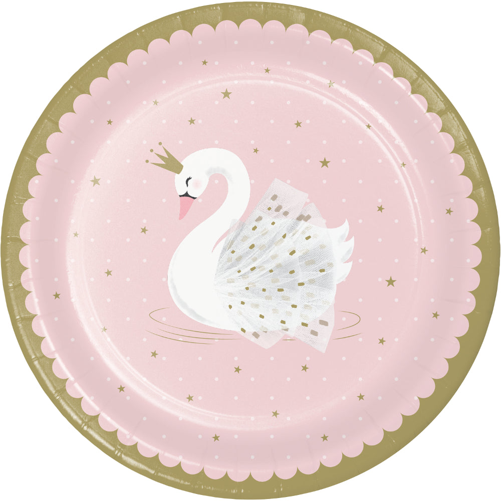 Stylish Swan Party Paper Plates - 23cm - Pack of 8