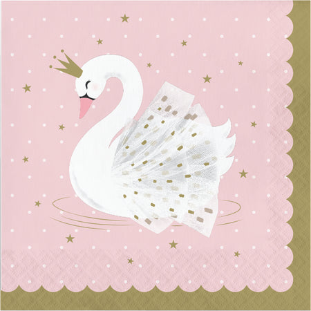 Stylish Swan Party Paper Napkins - 33cm - Pack of 16