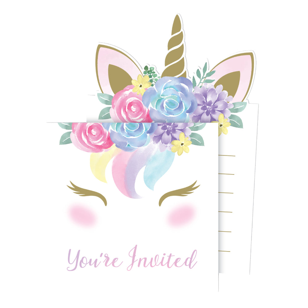 Unicorn Baby Party Invitations with Envelopes - Pack of 8