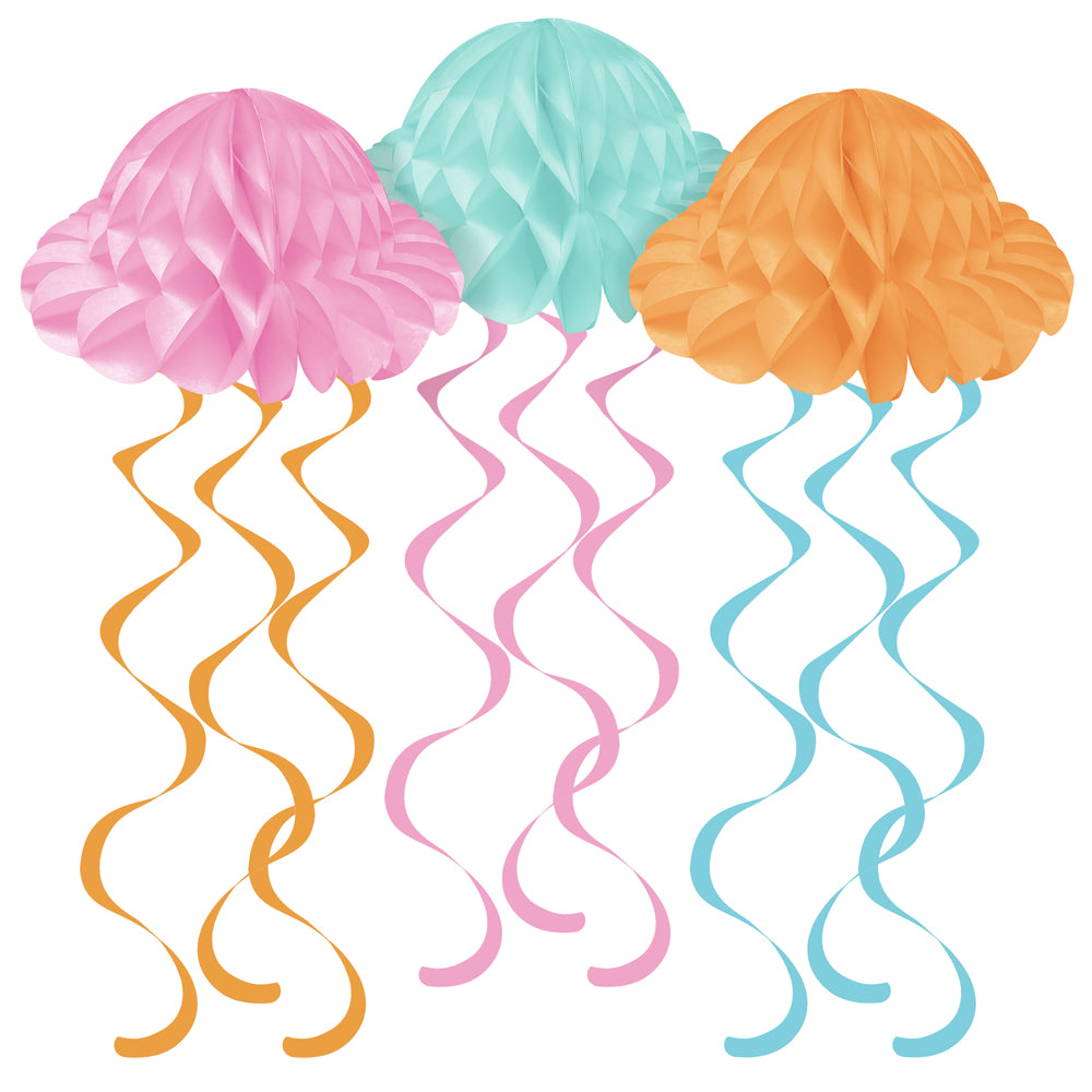 Jellyfish Hanging Tissue Shapes - 61cm - Pack of 3