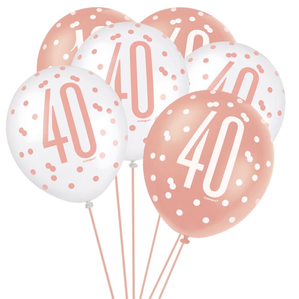 "Birthday Glitz Rose Gold 40th Pearlised Latex Balloons - 12"" - Pack of 6"