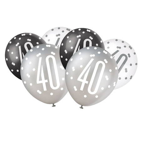 Birthday Glitz Black & Silver 40th Pearlised Latex Balloons - Pack of 6
