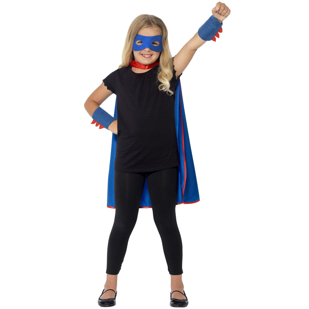 Children's Superhero Costume Kit - Mask, Cape & Cuffs - Unisex