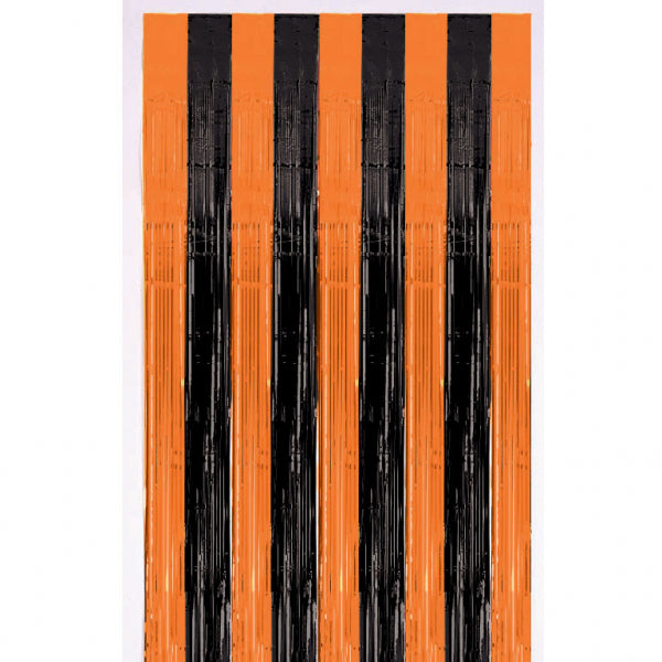Orange And Black Metallic Door Curtain - 2.4m