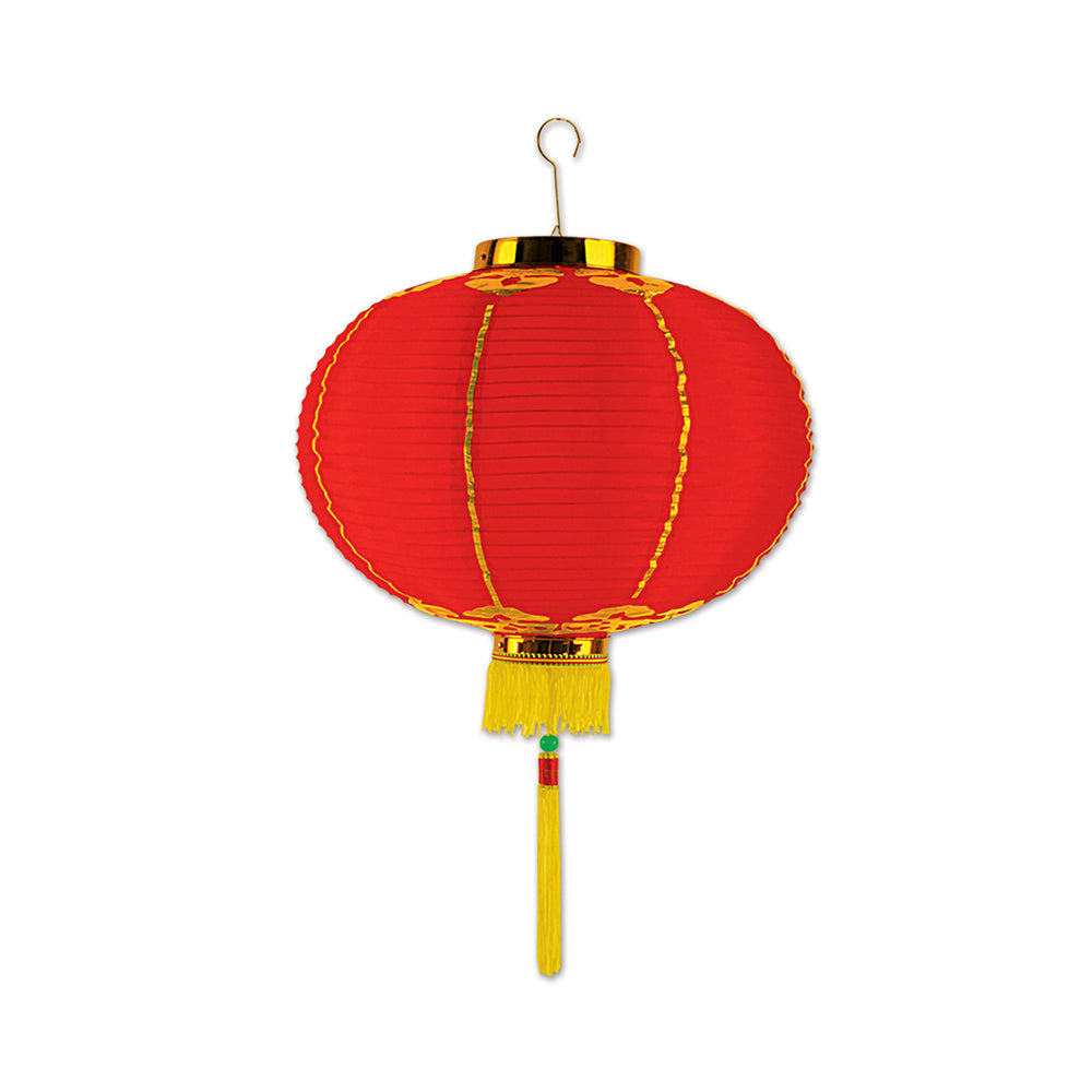 Chinese Lantern Fabric Hanging Decoration - Red & Gold - 30cm