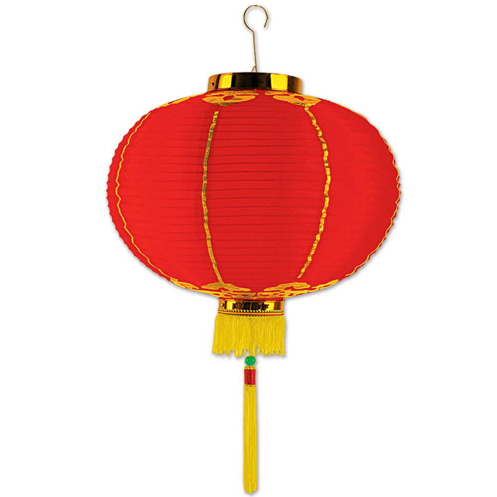 Chinese Lantern Fabric Hanging Decoration - Red & Gold - 41cm