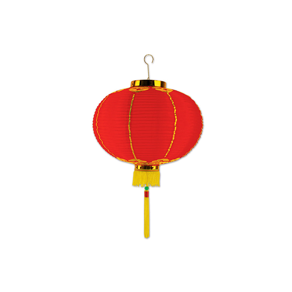 Chinese Lantern Fabric Hanging Decoration - Red & Gold - 20cm