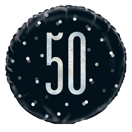 Birthday Glitz Black & Silver 50th Prismatic Foil Balloon - 18