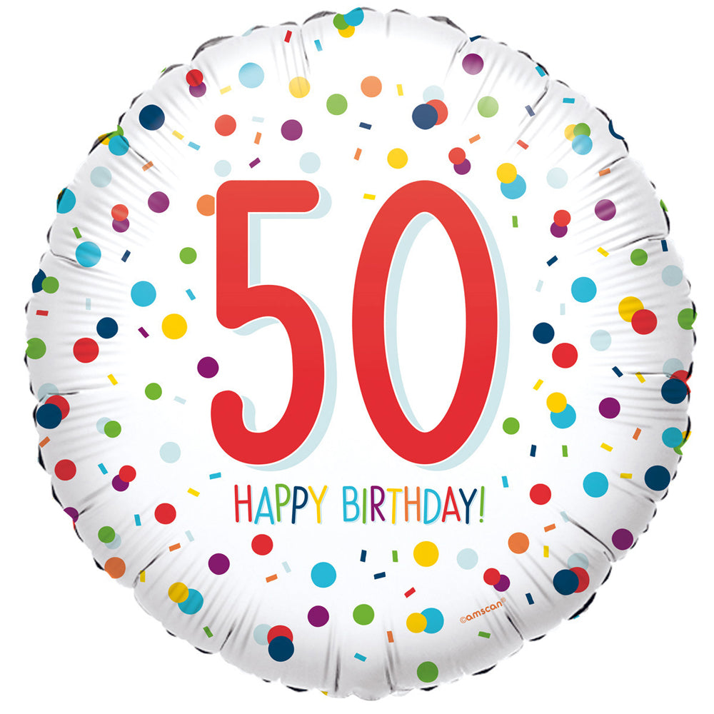 50th Birthday Confetti Foil Balloon - 18""