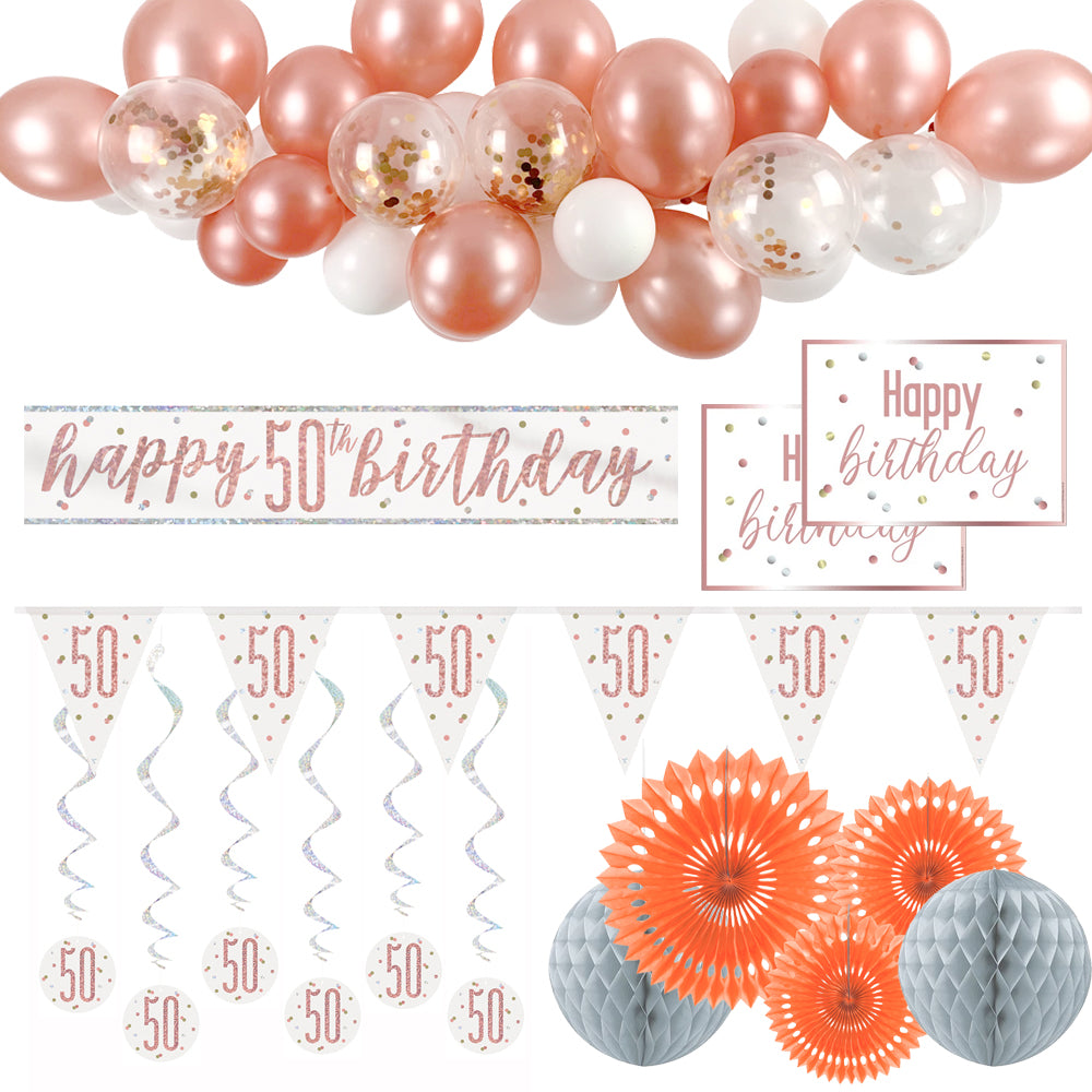50th Birthday Rose Gold Glitz Decoration Pack