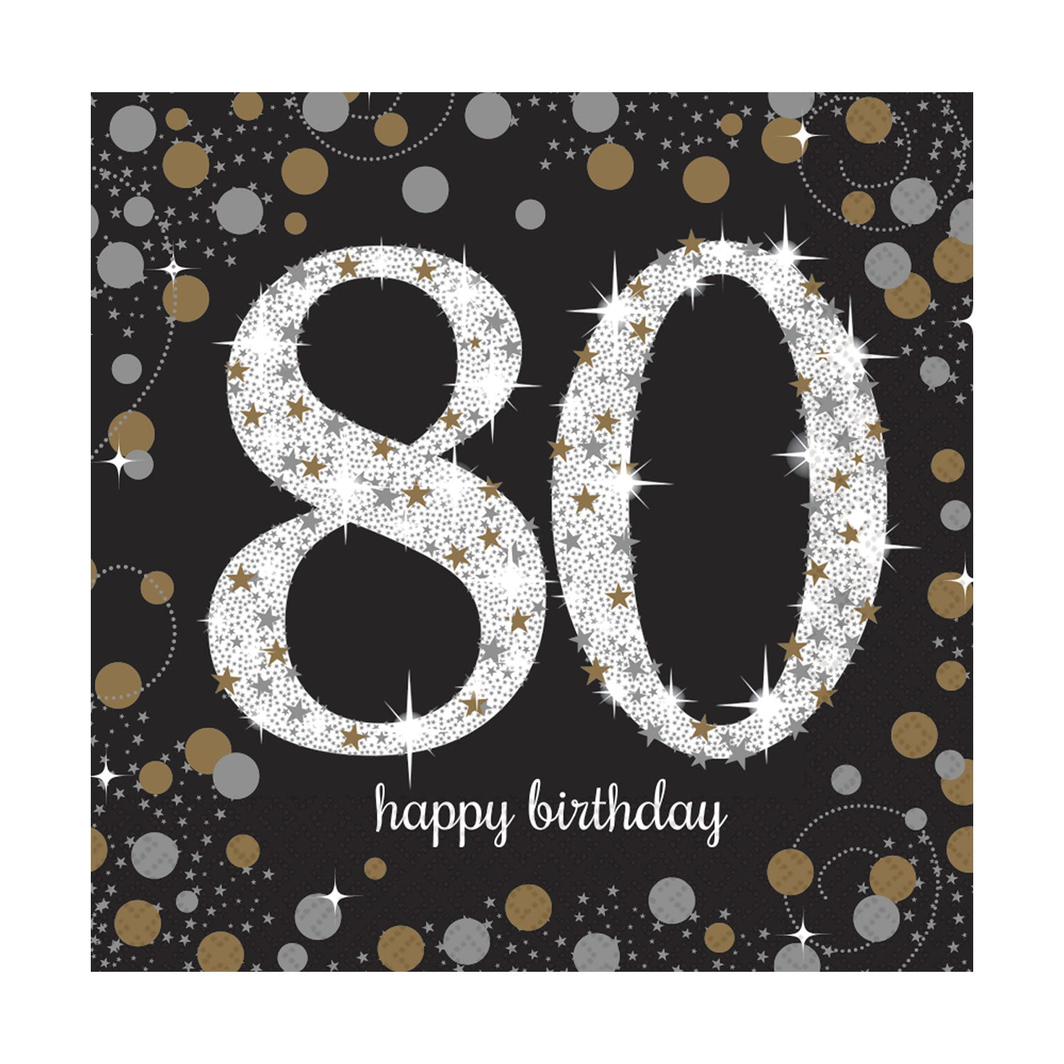 "Gold Celebration ""80th Birthday"" Luncheon Napkins - 33cm - Pack of 16"