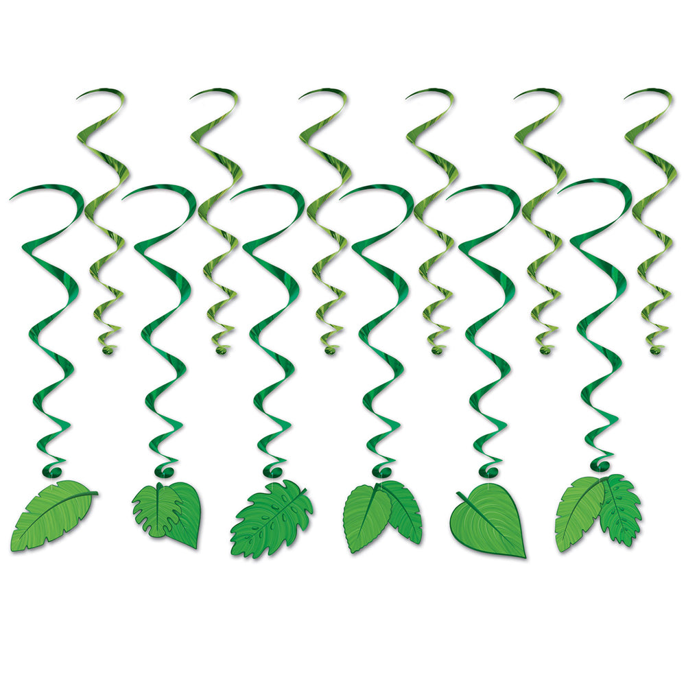 Tropical Leaves Whirl Decorations - Pack of 12