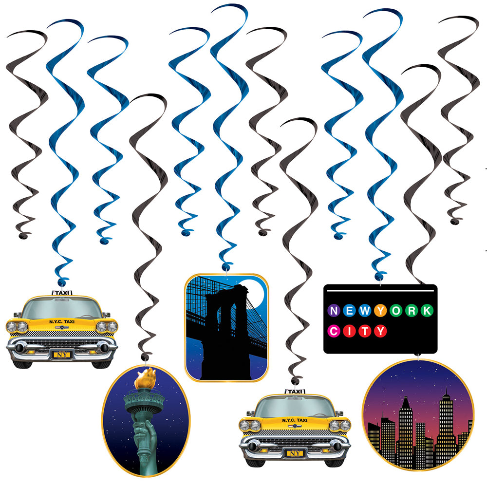 New York City Whirl Decorations - Pack of 12