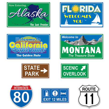 Travel America Road Sign Cutouts - Pack of 9