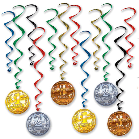 Award Medal Whirl Decorations - Pack of 12