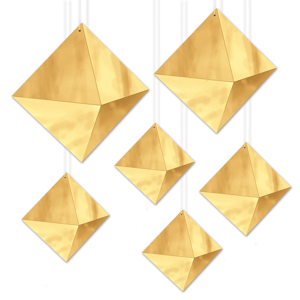 3-D Gold Foil Hanging Diamond Decorations - Pack of 6
